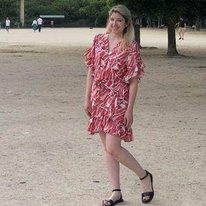AllSaints pink patterned wrap dress